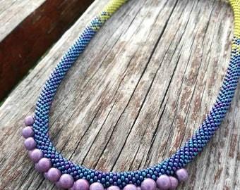Handmade, unique, bead crocheted necklace