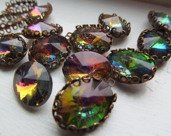 Vintage Set Crystals In Three Colors