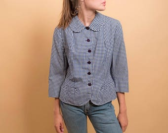 40s Gingham Top / Vintage 40s Blouse / Checkered Top / 40s Peplum Top Δ size: M/L