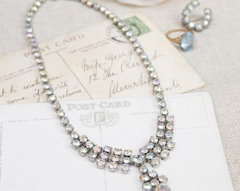 Vintage Crystal Necklace With Aurora Borealis Crystals, Bridal Necklace, Wedding Jewellery, 1940's/1950's Costume Jewellery