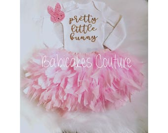 Pretty Little Bunny, Babys 1st Easter, Newborn Easter Bunny Outfit, Feather Bunny Outfit, Easter Photo Outfit, Feather Tutu, Feather Bloomer