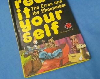 Vintage Ladybird boek - de Elfen en de schoenmaker - Lees het zelf serie 777 niveau 2-85 p - glanzende Covers