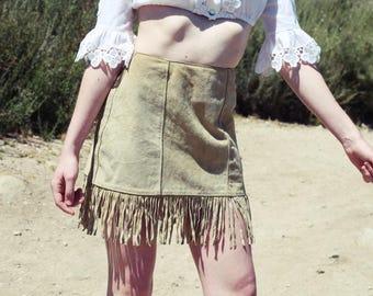 Vintage 70s Tan Suede Fringe Skirt sz. M