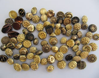 85 German glass buttons, metal like glass buttons, 10 mm to 15 mm, vintage 1950's gold bronze brass buttons, self shanking, Made in Germany