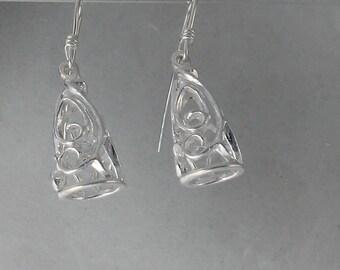 Filigree Cone Shape Sterling Silver Earrings