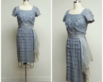 Vintage 1950s Dress • Everlasting Love • Steele Blue Lavender Lace Late 50s Cocktail Dress Size Small