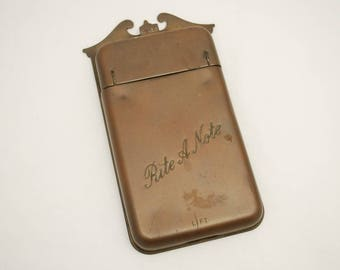 "Vintage ""Rite A Note"" - 1940's Brass Message Pad - Front Porch Wall Mount - Office Desk Accessories - Bed & Breakfast Cottage Decor"