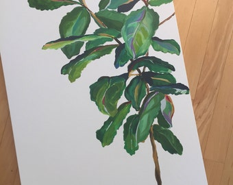 "Friendly fiddle leaf fig tree painting. 36""x24""."
