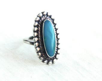 Southwestern Turquoise Ring Size 5 Vintage Oval Boho Statement Jewelry Blue Stone Cocktail Ring