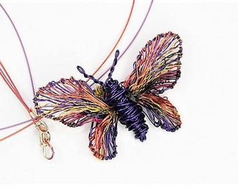 Purple butterfly necklace, wire art pendant, wire necklace, butterfly jewelry, purple necklace, boho, rainbow, Christmas, mothers day gift