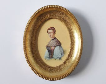 Gold oval frame, Gilded frame with portrait of a woman, Florentine frame, Italian gold frame