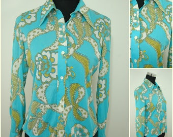 VINTAGE 1970s Funky Retro Turquoise Gold  Button Shirt Blouse Top UK 10 FR 38 / Wicked Dagger Collar /