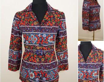 VINTAGE 1970s Bohemian Folk Flower Belted Tunic Top Blouse UK 10 EU 38 / Floral /Arts Crafts / Flower Power / Pop