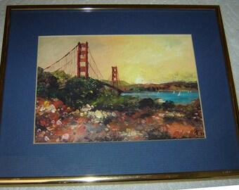 FRANK DONG Watercolor Print - Offset Litho - Framed, Matted & Signed by Artist - Golden Gate Bridge S.F.