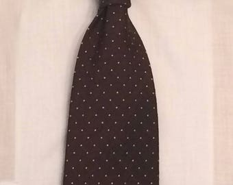 Vintage MENS 1970's Bronzini brown and white polka dot wide tie