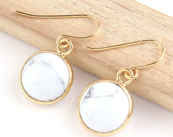 Howlite White Marble Gold Drop Earrings, Modern Minimalist Jewellery, Gemstone Jewelry, Dangle Earrings, Simple Earrings