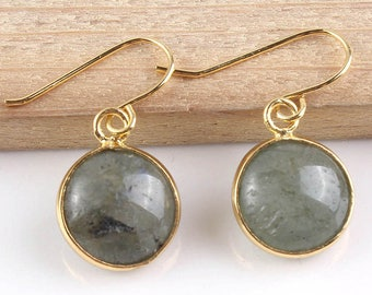 Labradorite Gold Drop Earrings, Modern Minimalist Jewellery, Gemstone Jewelry, Dangle Earrings, Simple Earrings