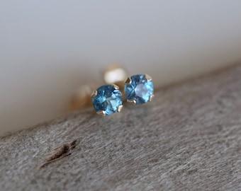 Tiny Blue Topaz Stud Earrings 14K GOLD EARRINGS London Blue Topaz Birthstone Earrings Gold Stud Earrings Tiny Studs Bridesmaid Gift