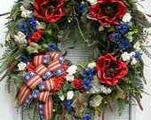 Large Patriotic Wreath July 4th Decoration Independence Day Floral Decor Front Door Grapevine Red Magnolias Off White Blue Luxe Elegant