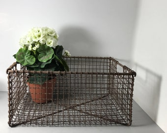 Vintage Industrial Metal Wire Basket Heavy Duty, Large Metal Basket, Handled Metal Wire Basket, Rustic Basket
