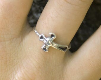 sterling silver cross ring, heart cross ring, religious ring, cross and heart ring, sterling silver ring
