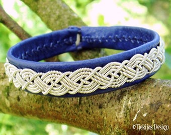 Sami Bracelet MIDGARD Swedish Blue Leather Viking Cuff for Guys and Girls - Handmade with traditional Lapland Pewter Braid and Antler