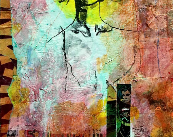 and then he promised / original painting / original art / collage / art lover / home decor / home accent / art on wood