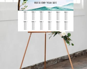 Reception Seating Chart, Wedding Reception Sign, Day Of Stationery - Watercolour Landscape, Arbutus Tree, Rustic Wedding (Style 0019)