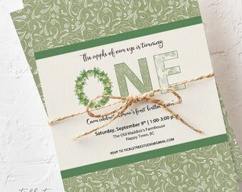 Birthday Party Invitations - Apple of Our Eye, First Birthday Party, Apple Orchard Theme (Style 13595)