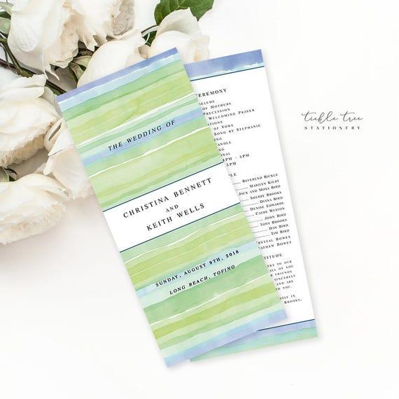 Semi Custom Wedding Stationery - Programs - Sandy Shores (Style 13625)