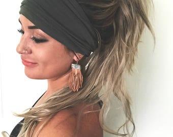 Olive Scrunch Headband, Extra Wide Headband, Turban Headband, Extra Wide Jersey Headband, Boho Headband, Boho head wrap (women, teen girls)