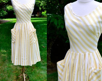 1950's Yellow & White Striped Summer Dress / Vintage Strapless Sun Dress / Size 6