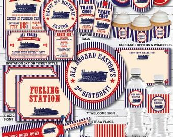 Train Birthday Party Decorations, Train Birthday Decorations, Train Birthday Invitation, Train Party, Printable PDF Files