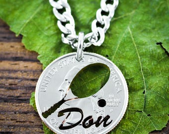 Tennis Racket Necklace, Custom Name Jewelry, Sports Necklace, Athletic Apparel, cut by hand through a coin