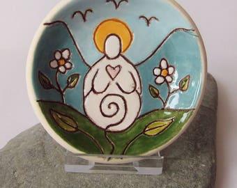 Ceramic Pottery White Goddess Dish, Offering Bowl, Goddess Pottery, Goddess Decor, Trinket Dish, Cande Bowl, Ring Dish, Tea Light Holder