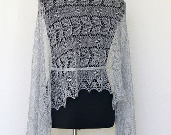 Wedding shawl, bridal shawl, gray shawl, lace scarf, laced scarf, wool shawl gift for her, bridesmaids shawl
