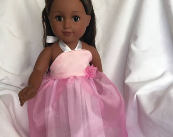 18 inch Doll Dance Evening Dress Pink with Matching Hair Clip