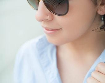 14K REAL Solid Rose Gold Nose Ring, Snug Fitting Solid Rose Gold Hoop, Nose Cartilage Tragus Helix, Dainty Endless Hoop, Solid Gold Hoop
