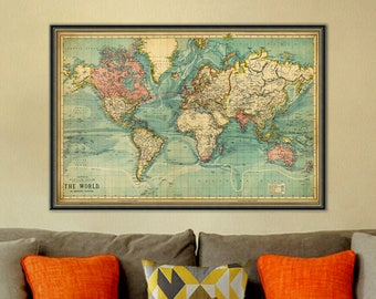 World wall map  Etsy