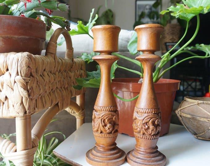 Tall Vintage Teak Wood Carved Candlestick Holders