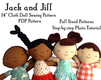 Cloth Rag Doll sewing pattern, boy and girl, twins, Jack and Jill, soft toy plushie pattern, PDF instant download, A4 or letter
