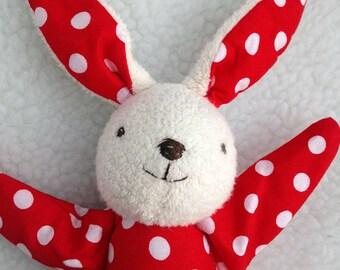 red polka dot bunny rabbit toy, rag doll, stuffed animal, baby shower gift