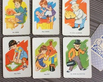 Set of 6 vintage Playing Cards Happy Families People Kids Game Swap