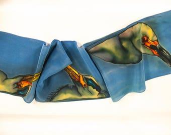 "SALE. Heron Silk Scarf. 8x52"". Silk scarf hand painted~Hand painted silk scarves. Grey silk scarf~Heron scarf~Egret scarf~Painted silk scarf"