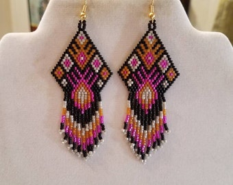 Native American Style Beaded Black, Pink, Grey and Mustard Earrings Southwestern Hippie Boho, Gypsy, Brick Stitch Peyote, Ready to Ship