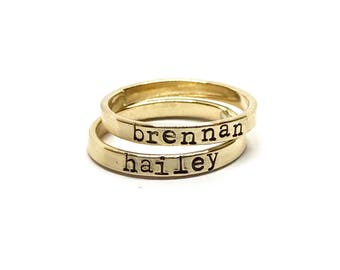 Gold Stacking Name Rings, Mother's Rings, Hand Stamped Name Rings,The Charmed Wife, Mommy Jewelry, Personalized Gold Ring, Hand Stamped Gift