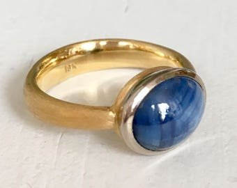 Blue Star Sapphire 18k Yellow and White Gold Engagement Ring