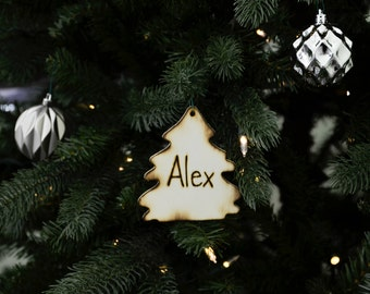 Personalized Wood Christmas tree ornament