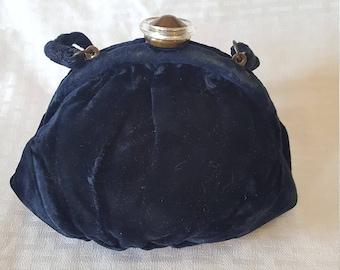 Vintage Velvet Purse Bag Clutch in Navy Blue
