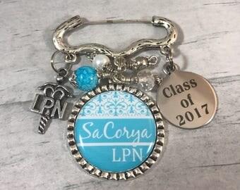 LPN NURSE Gift / Nursing Grad Gift / Nursing Pin. RN. Nursing School Graduation Gift. Medical Profession. Class of 2017 nursing pin ceremony